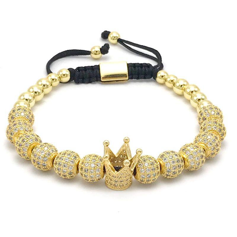 Gorgeous Men Micro Pave CZ Crown Disco Ball Braided Macrame Bracelet Jewellery