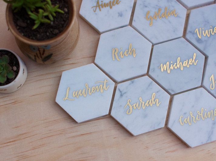Monogrammed Marble Tiles With Gold Calligraphy For Place Cards