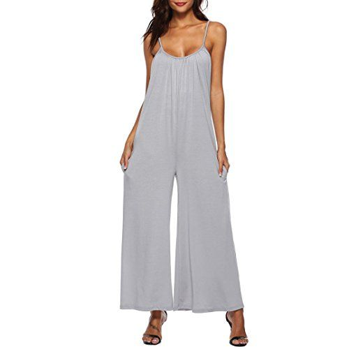 bd3845f99a8 RAISINGTOP Women Ladies Loose Long Playsuits Rompers Pants Palazzo Jumpsuit  Maxi Dress Wide Leg Flowy Trousers Casual (Gray S)