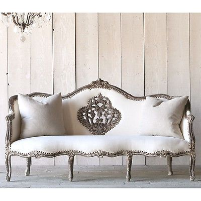 Shabby Cottage Chic Vintage French Louis Xvi Style Grey Daybed Wash Sofa Home