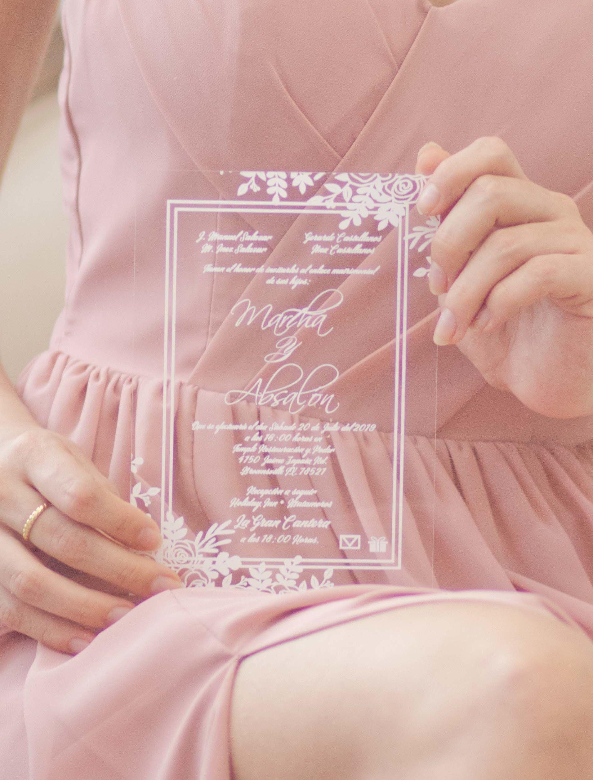 Acrylic Wedding Invitations Online Clarity & Co in 2020