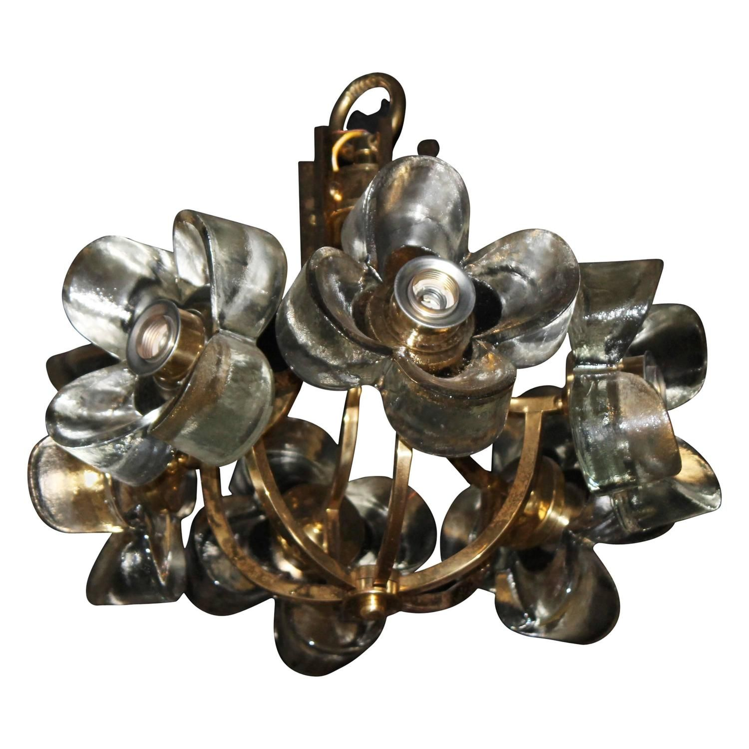 Murano Mazzega Glass Flower Brass Chandelier Italian From A Unique Collection Of Antique And Modern