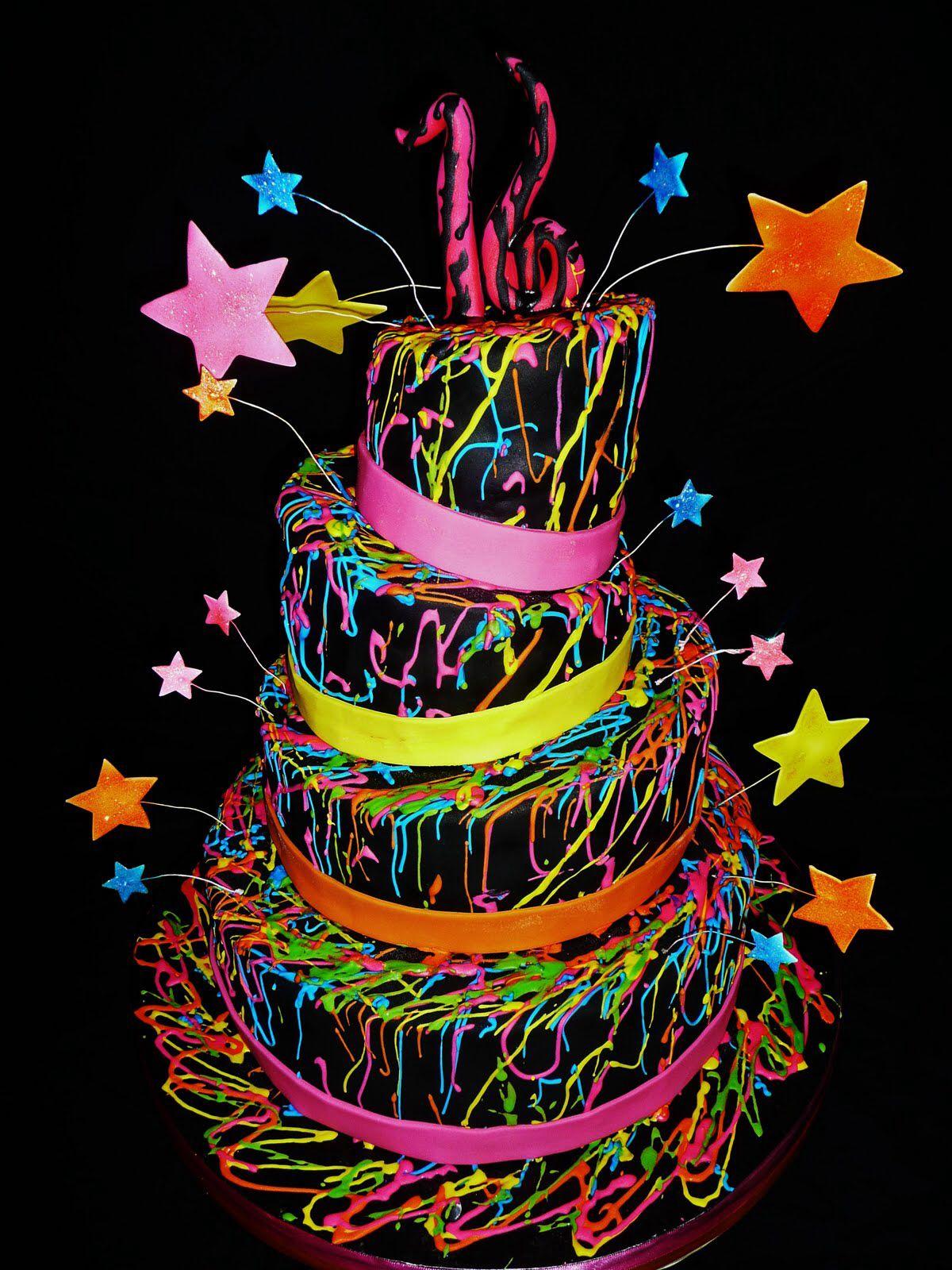 Miraculous Funky Cake Glow In Dark Party Neon Cakes Sweet Sixteen Cakes Personalised Birthday Cards Arneslily Jamesorg