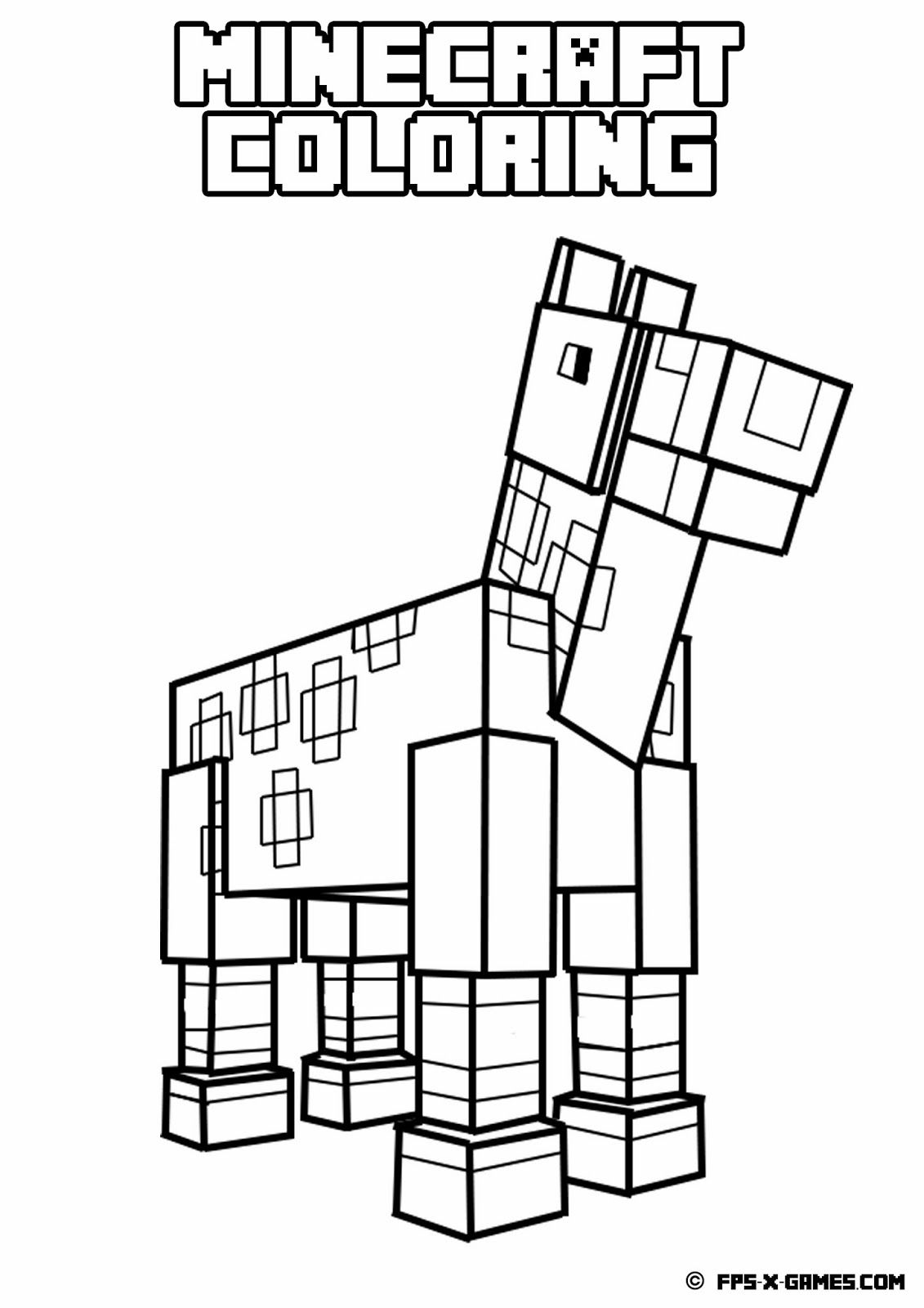 Printable Minecraft coloring - Horse | Minecraft coloring ...