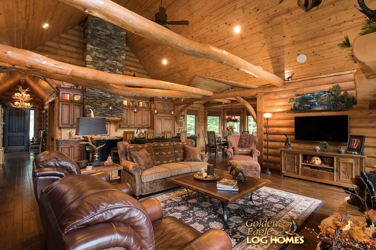 Log home interior ideas great room area view   last house  pinterest  golden eagle logs
