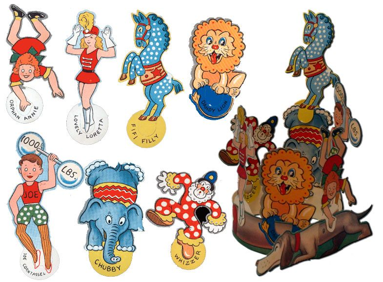 Dachshund Circus Ring with Droopy Dachshund FiFi Filly, Lovely Loretta, Whizzer the Clown, Orphan Annie, Chubby the Elephant, and Joe Corntassel