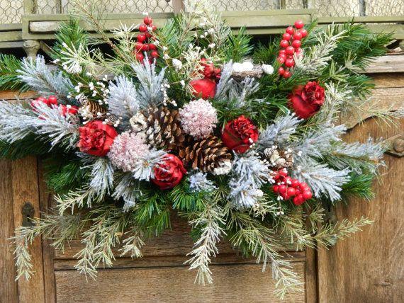 Christmas Wreath, Christmas Swag, Front Door Swag Wreath, Mantel Wreath,Winter Wonderland Wreath, Horizontal Swag Wreath, Holiday Wreath