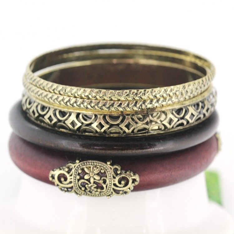 Woodiness Retro Multilayer Charm Darkbrown Bracelets for Women