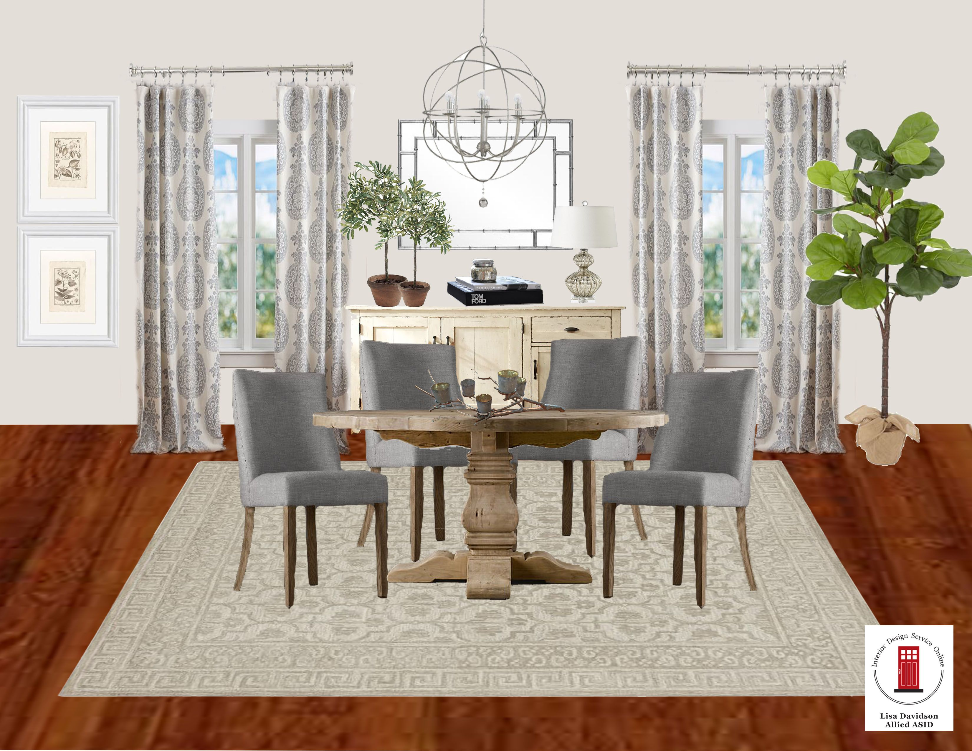 Good Transitional Grey And Cream Dining Room By Interior Design Service Online