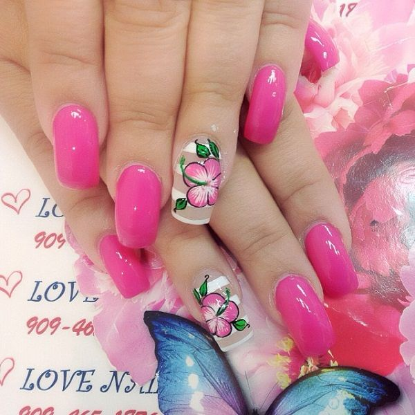 cute pink and flower nail-art-55 - 65 lovely Pink Nail Art Ideas  <3 <3