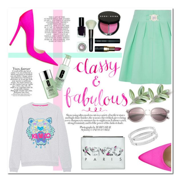 """""""classy & fabulous"""" by f-ashioninside ❤ liked on Polyvore featuring Yves Saint Laurent, Kenzo, Bobbi Brown Cosmetics, Manolo Blahnik, Clinique and Michael Kors"""