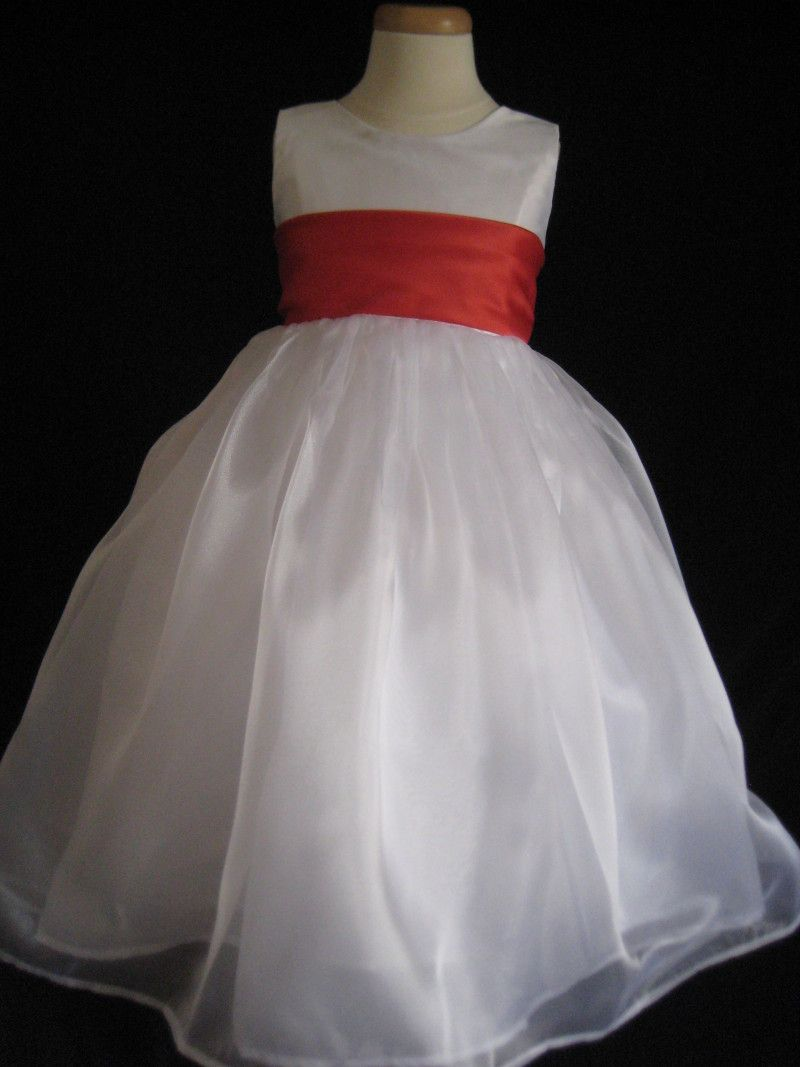 White Flower Girl Dress With Red Sash Front Way Cute My Dream
