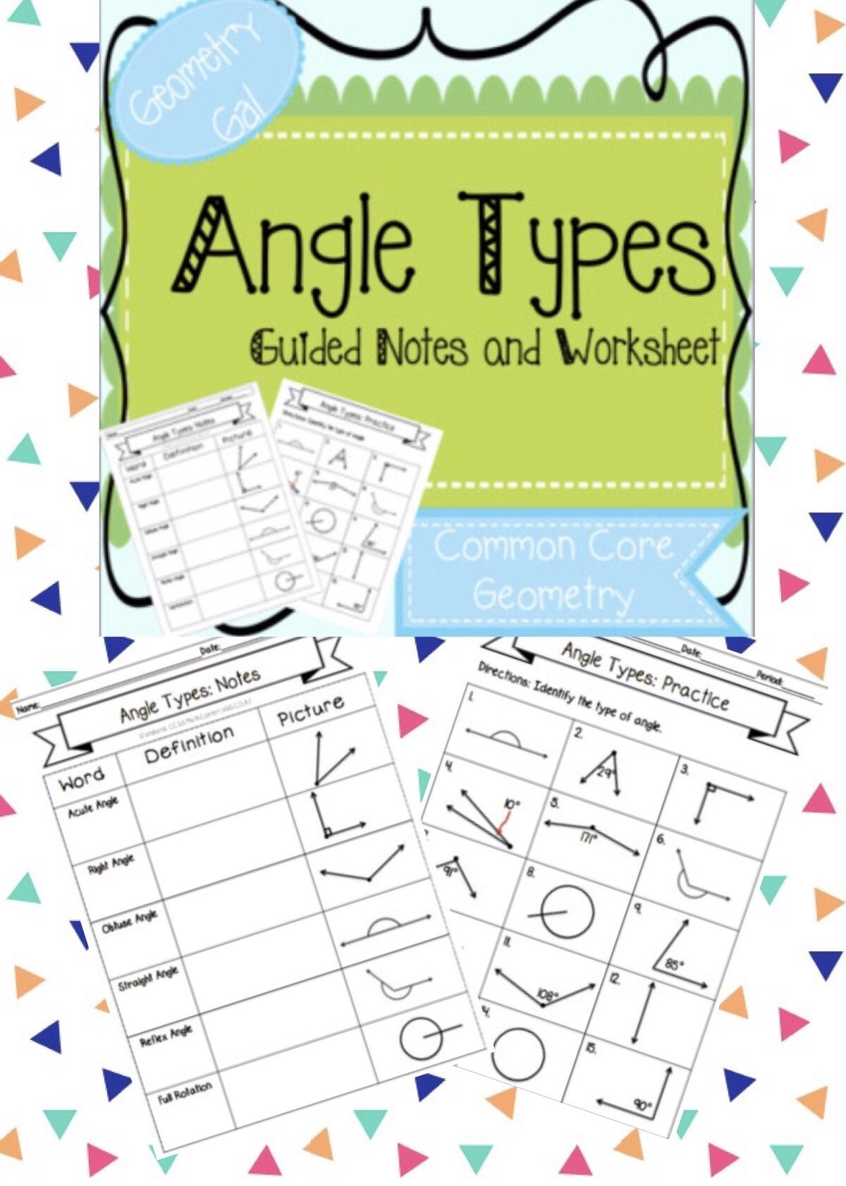 Angle Types Notes And Worksheet By Geometry Gal