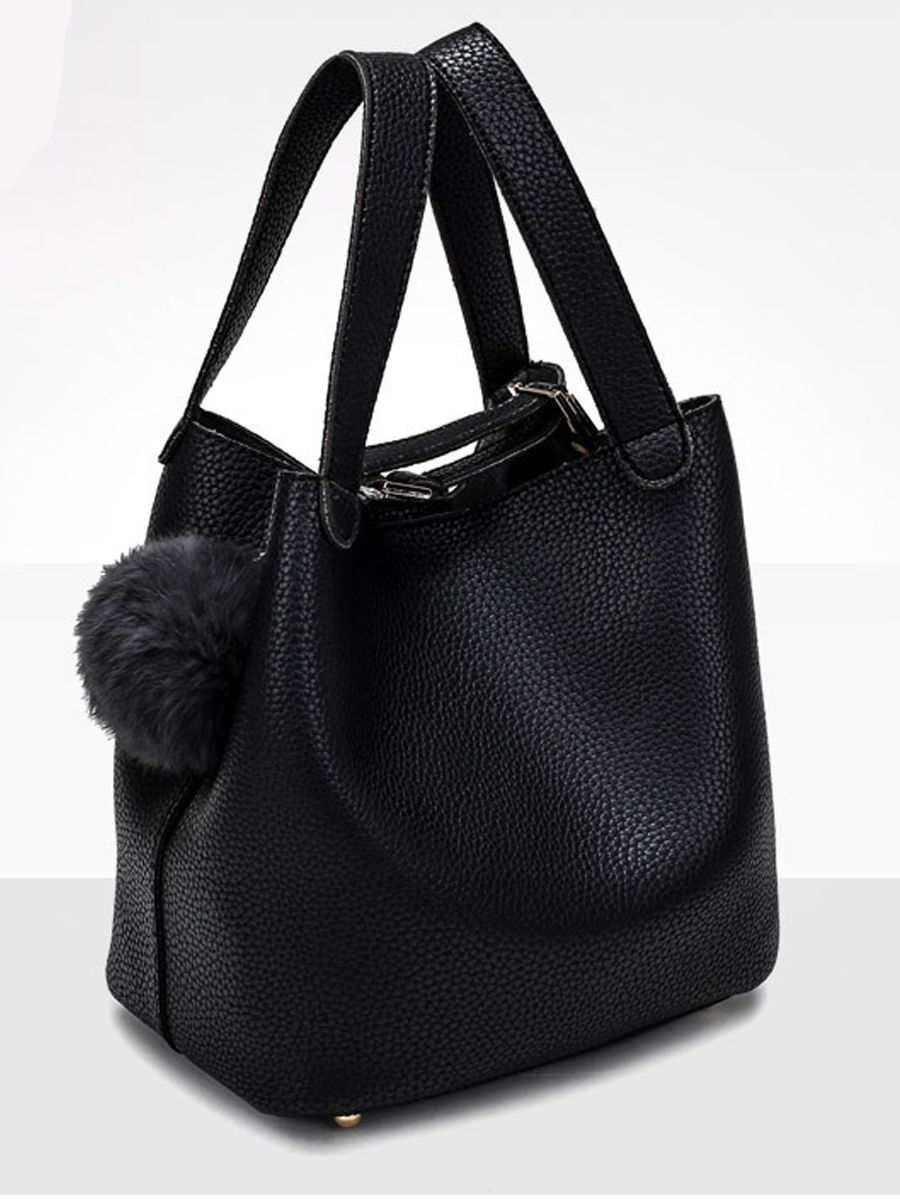 Fashion Stylish Tassel Decoration Pu Plain Hand Bags Black