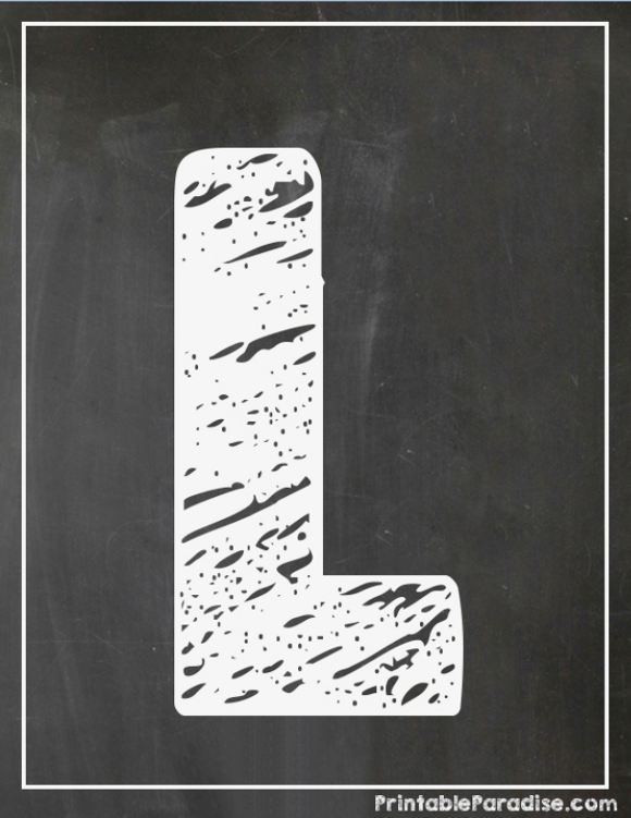 image about Printable Chalkboard Letters referred to as Printable Letter L Chalkboard Crafting jazz Chalkboard