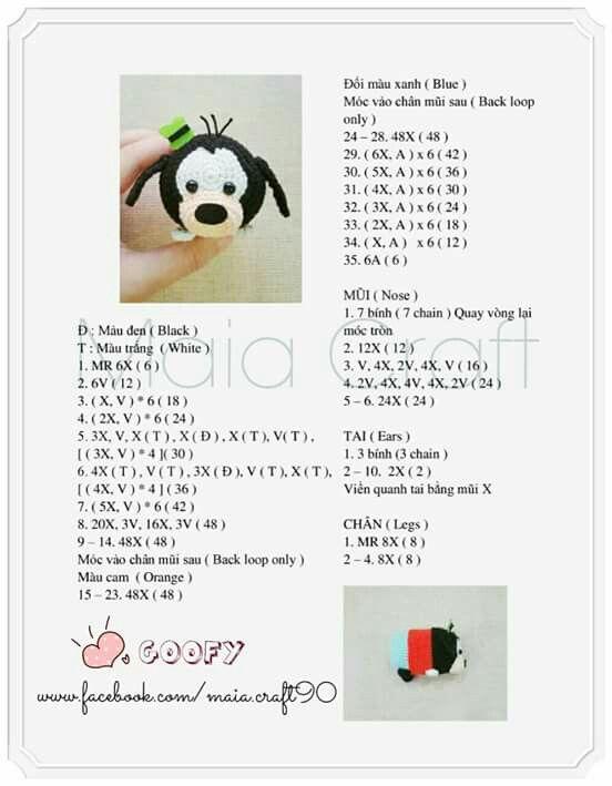 Tsum Tsum goofy | Tsum Tsum Crochet | Pinterest | Patrones amigurumi ...