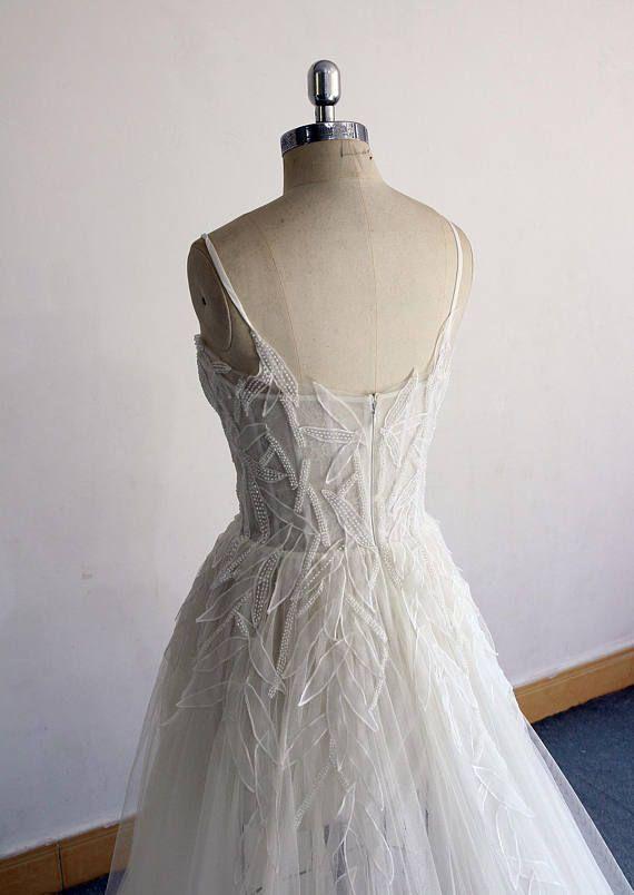 0004a5880e1b4 High Fashion Flowy Ivory Aline Corset top Wedding Dress, Bohemian Weddig  dress with Spaghetti straps