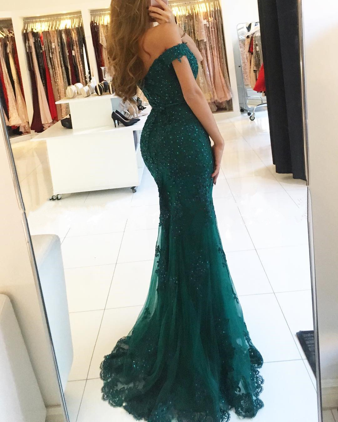 f619bb04b36 2019 New Arrivals Lace Mermaid Style Dress Featuring a off-the-shoulder  Neckline and pearl beaded details. Perfect For Prom