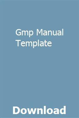 Gmp Manual Template Serirsobu Standard Operating