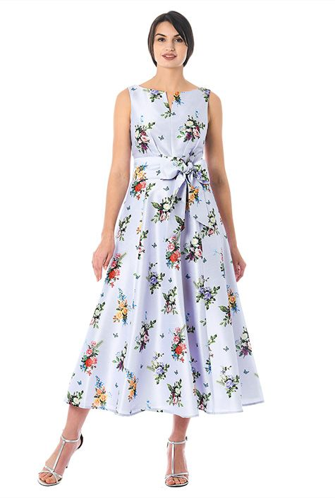 6d4621405444 Rose print dupioni midi dress-CL0055941 | fancyyyy | Dresses, High ...