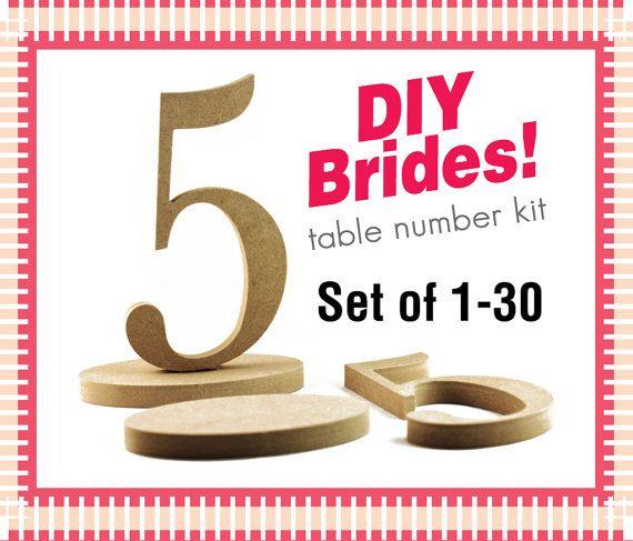DIY 1-30 Wood Table Numbers - Do It Yourself Wedding Table Number Kit - Unfinished Wood Numbers DIY30