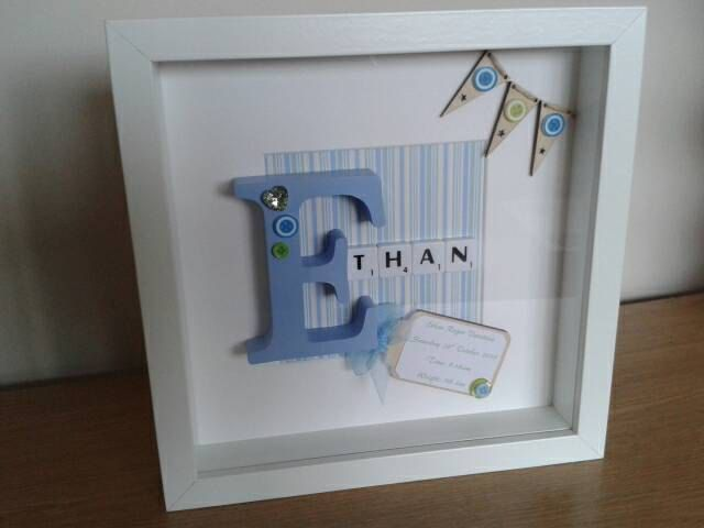 Personalised Scrabble Art Picture Frame Baby Boy Girl