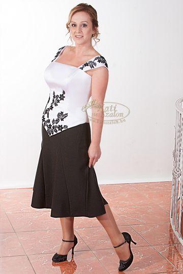 47e7f5814e 691- klasszikus fekete-fehér szín, modern fazon, csipke díszítés ...
