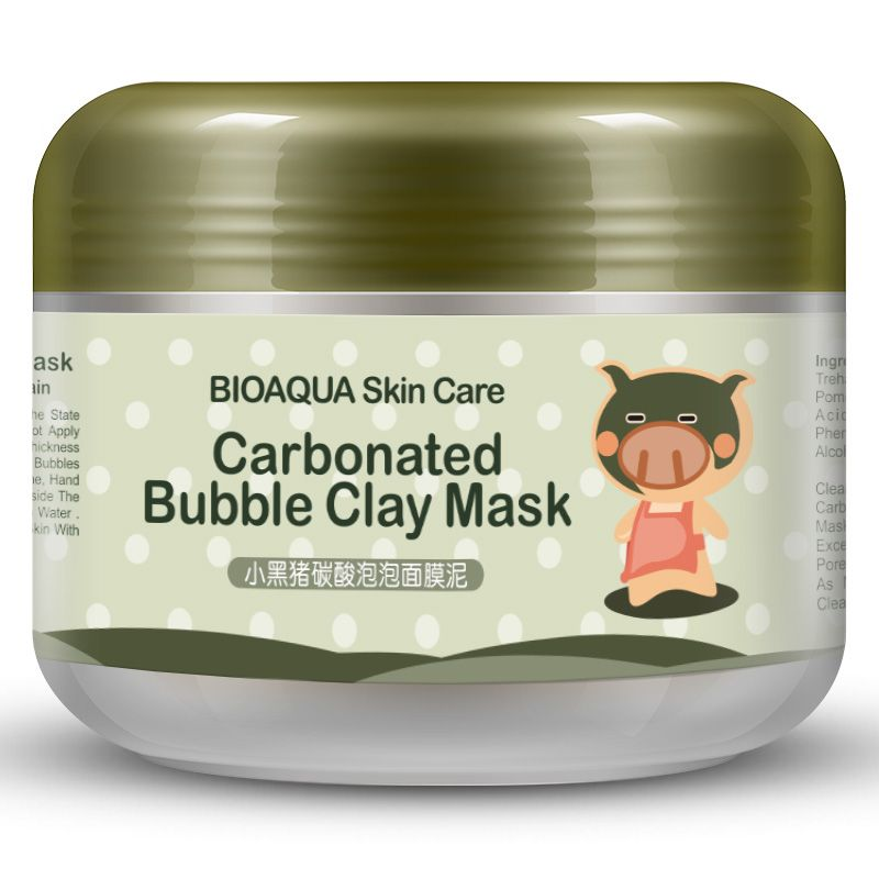 Bioaqua Kawaii Black Pig Carbonated Bubble Clay Mask Winter Deep Cleaning Moisturizing Skin Bubble Face Mask Moisturizing Face Mask Carbonated Bubble Clay Mask