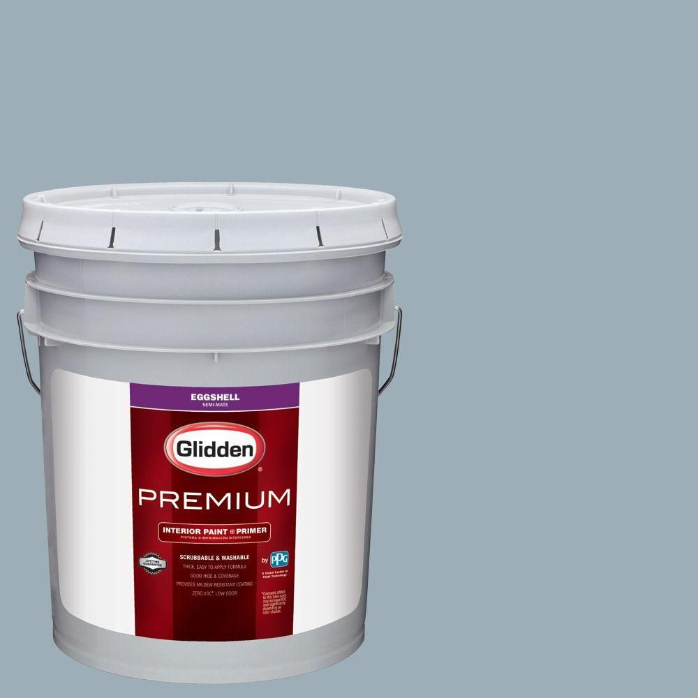 Glidden Premium 5 gal. #HDGV11 Oxford Blue Eggshell Interior Paint with Primer