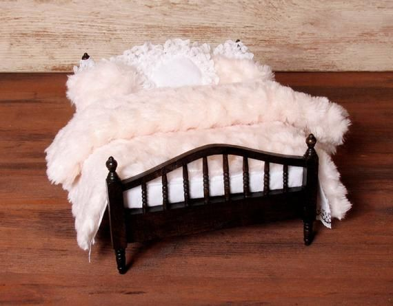 Miniature Double Bed Set in Winter Look for Your Dollhouse