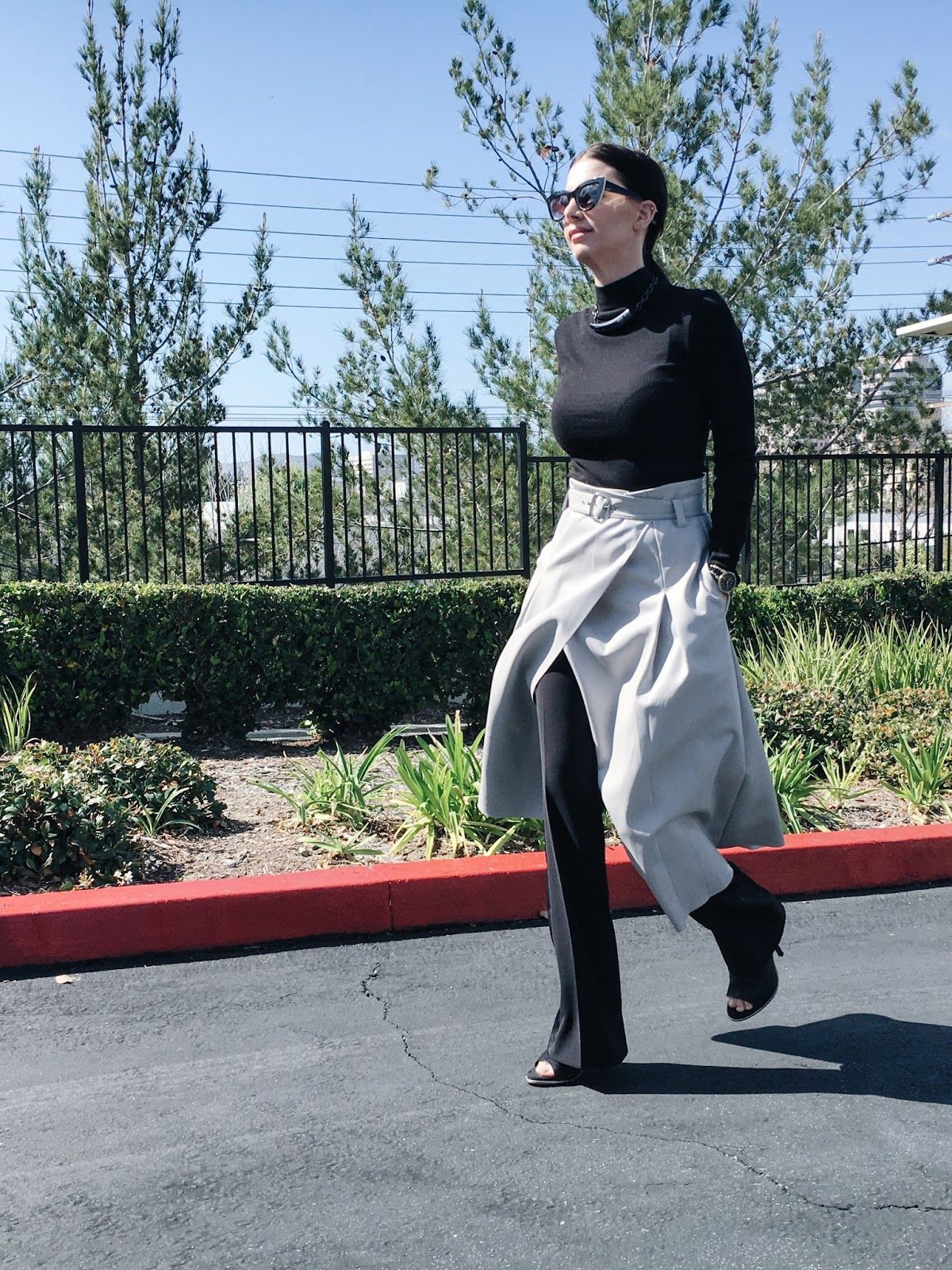 wrap skirt, skirt over pants, layering outfit, spring 2016, trends ...
