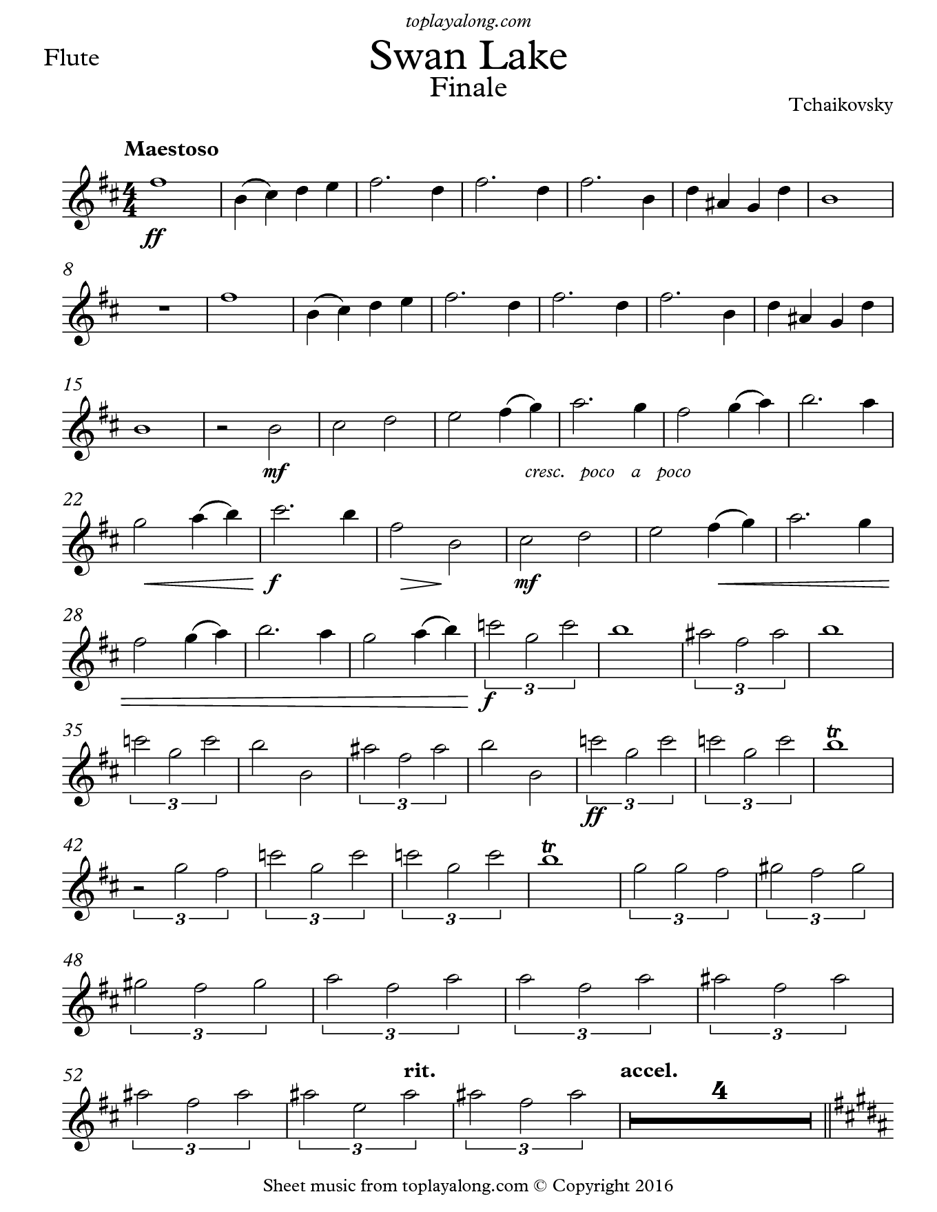 Free flute sheet music for Swan Lake Finale by Tchaikovsky