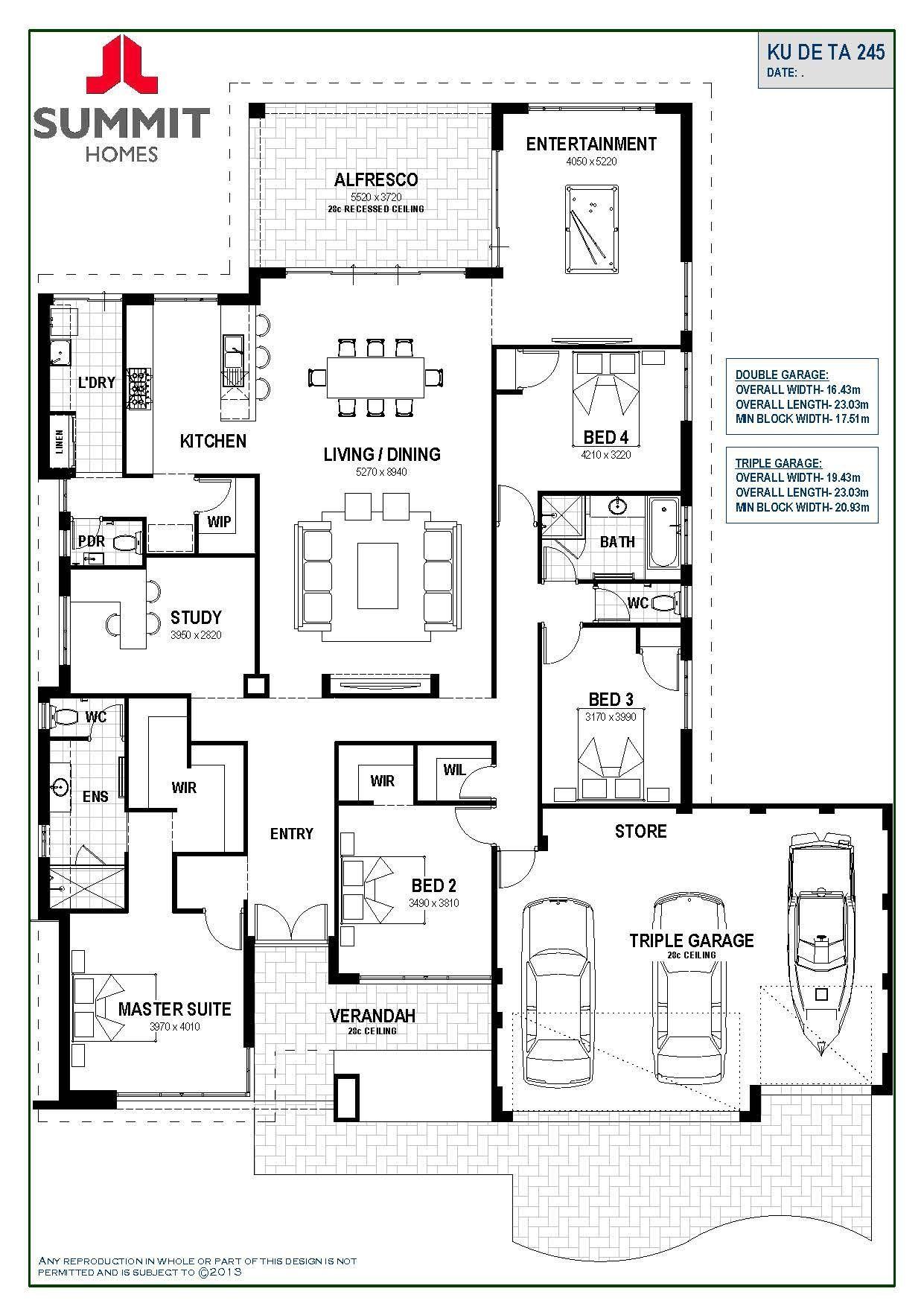 Ku De Ta 245 Single Storey Select Range Summit Homes Wa Ibuildnew House Plans Australia 4 Bedroom House Plans Floor Plan 4 Bedroom