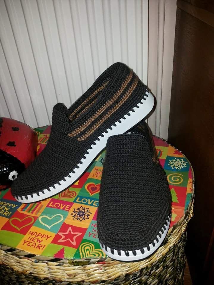 Para hombres | zapato caballero crochet | Pinterest | Para hombres ...