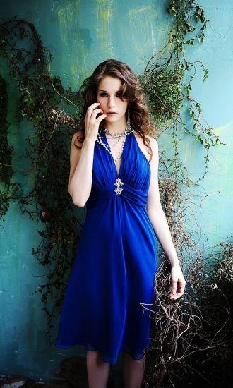 365c8c3f3f A-line Empire Halter Chiffon Royal Blue Tea-Length Bridesmaid Dresses UK  with Ruching P41404P916964