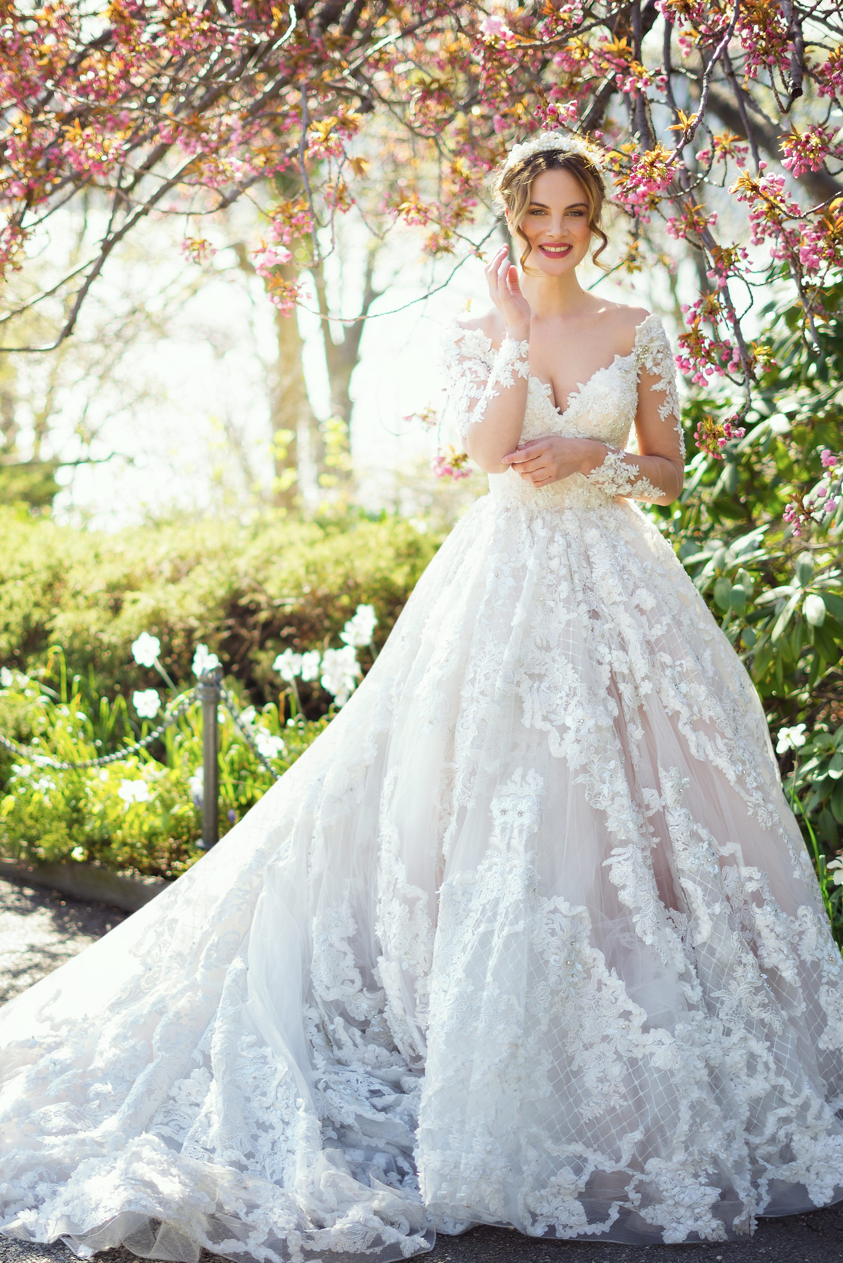 Off The Shoulder Long Sleeve Beaded And Embroidered Lace Ball Gown