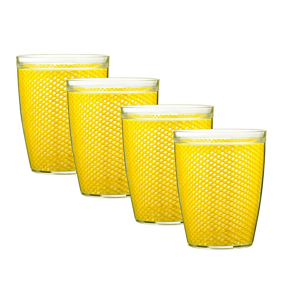 Kraftware Fishnet 14 oz. Double Wall Drinkware - Set of 4 - Yellow