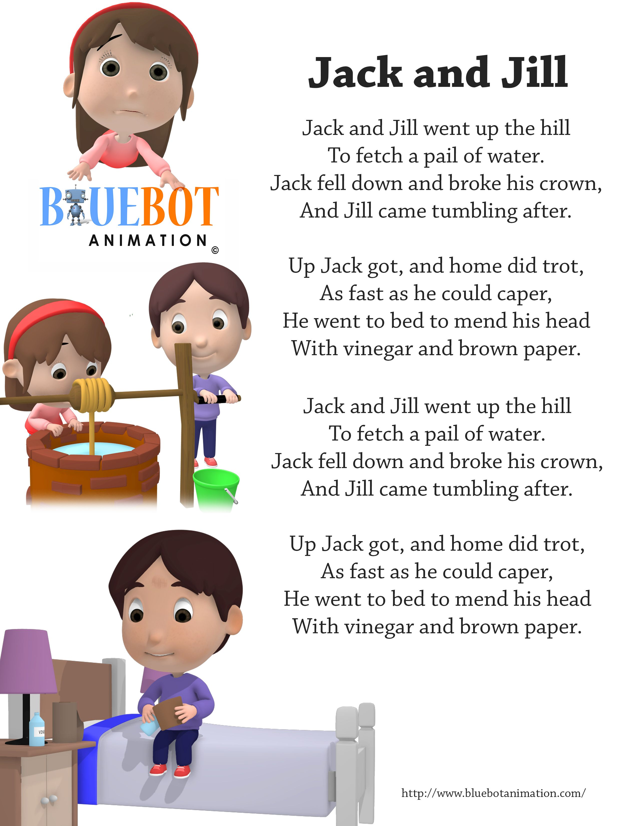 Jack And Jill Nursery Rhyme Lyrics Free Printable Page By Bluebot Animation