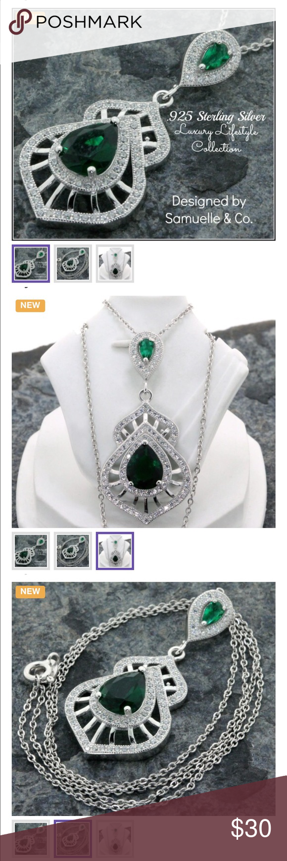 .925 SS, Emerald & Australian Cz's Necklace This beautiful Necklace contains 5.00ctw of Emerald & AAA Grade Australian Cz's which are flawlessly set in .925 Sterling Silver with a Platinum Overlay. This truly shows the stunning quality and craftsmanship. Total weight for this Necklace is 5.5 grams. The pendant measures 1 1/2 inches long. The chain is 18 inches long. Samuelle & Co Jewelry Necklaces