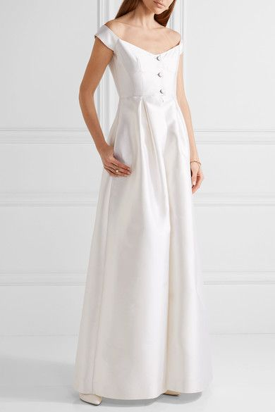 Tituba Off-the-shoulder Silk And Wool-blend Gown - Ivory Gabriela Hearst bw1DQG5