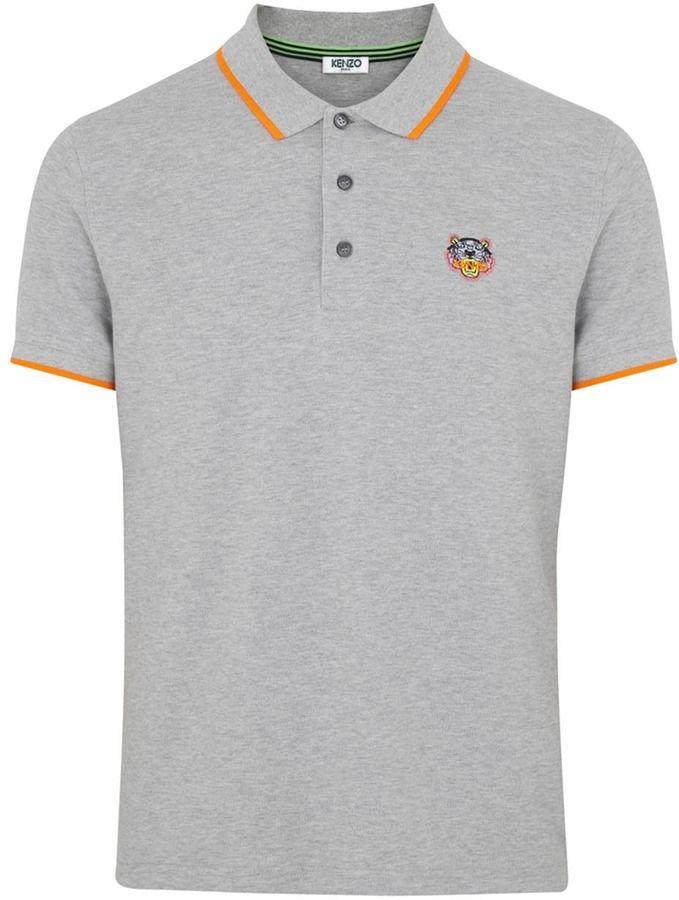 9d042909 Kenzo Grey piqué cotton polo shirt on shopstyle.co.uk   New Me ...
