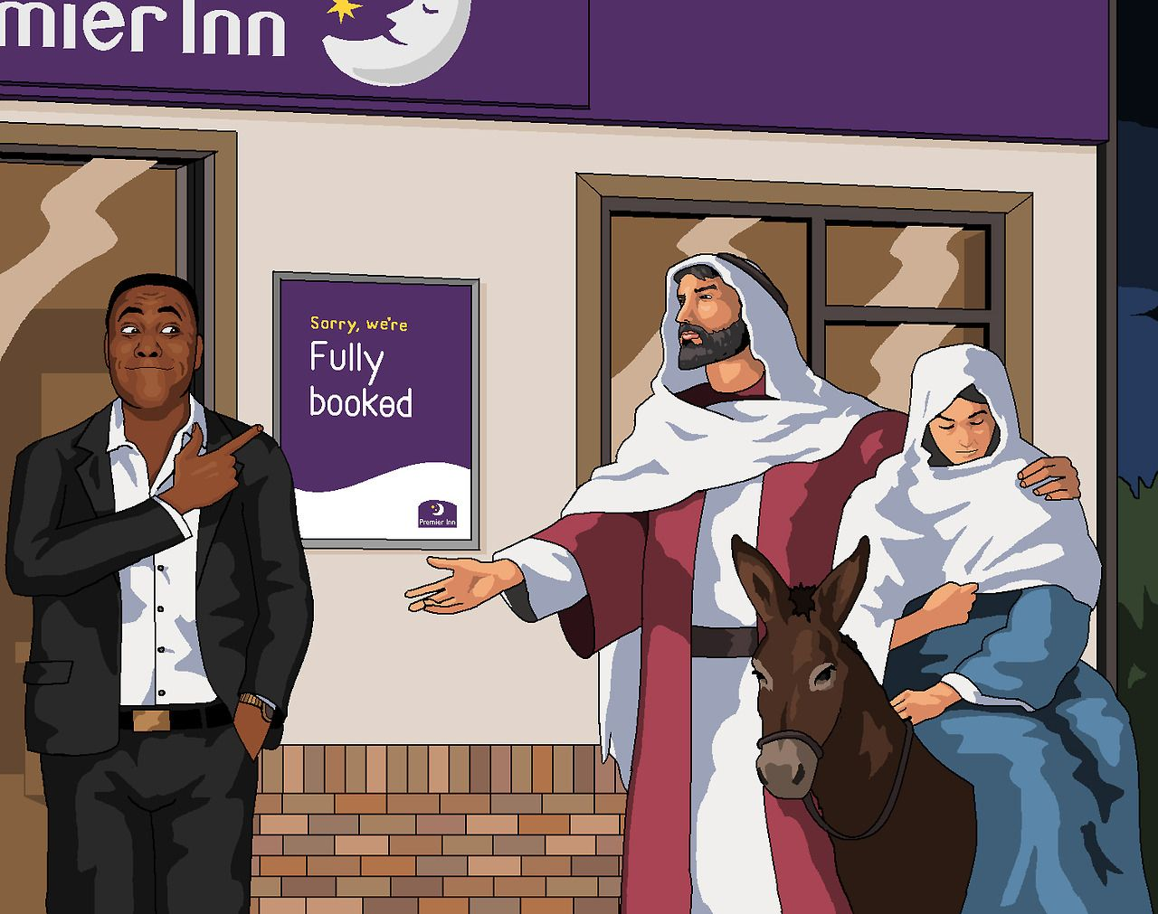 That S My Xmas Cards For This Year Sorted Then Mary Amp Joseph Being Turned Away From A Premier Inn By Lenny He Book Cheap Hotels Premier Inn Cheap Hotels