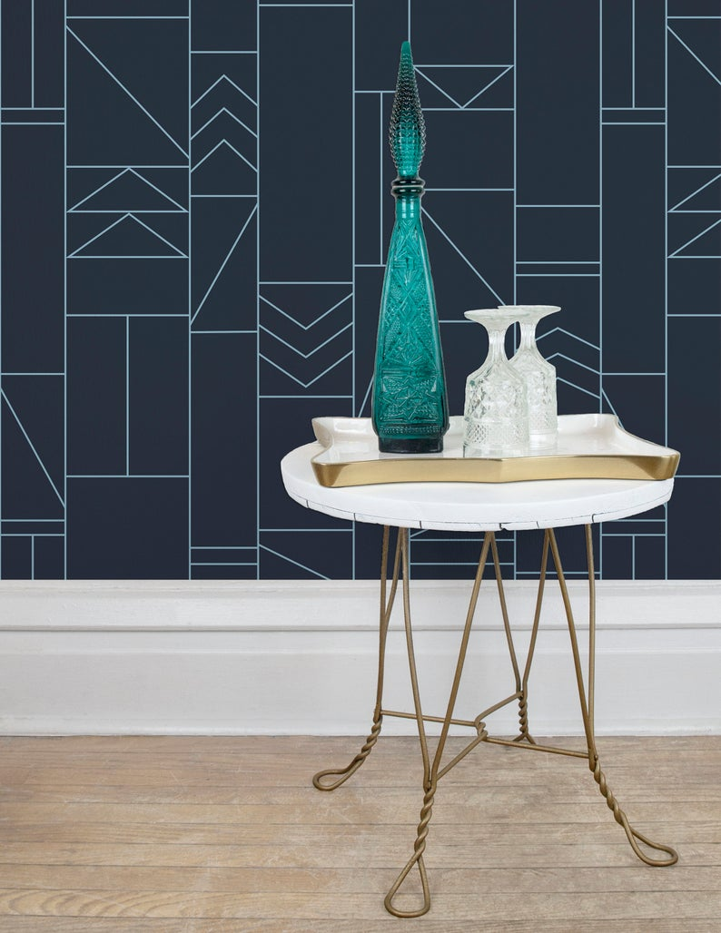 Out of Line Removable Wallpaper in Navy & Blue Self