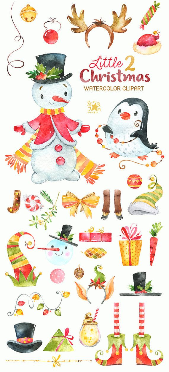 Little Christmas 2 Watercolour Clipart Snowman Winter Penguin