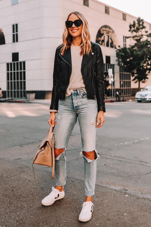 Fashion Jackson Wearing Madewell Black Leather Jacket Grey Sweater Boyish Ripped Jeans Veja V10 Jacket Outfit Women Leather Jacket Style Leather Jacket Outfits [ 1500 x 1000 Pixel ]