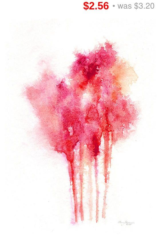 happy sales watercolor tree abstract painting red trees