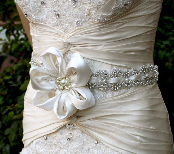 BRIDAL SASH for wedding gown, Crystal and Pearl Bridal Belt by VegasVeils
