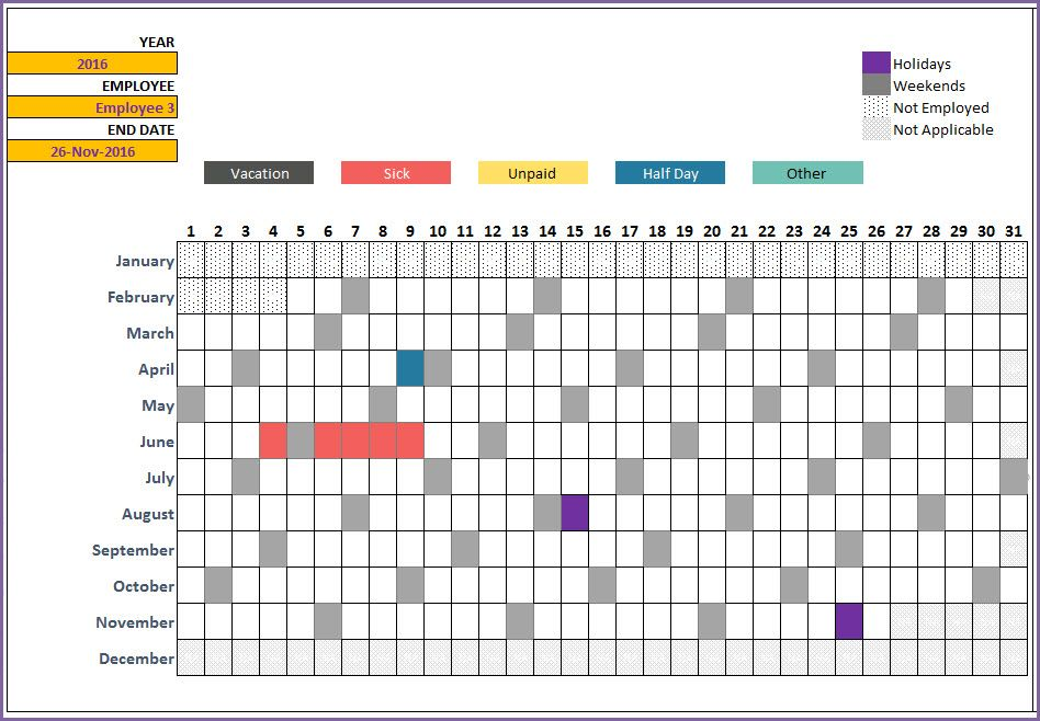 Free Leave Tracker Vacation Tracker Excel Template 2019