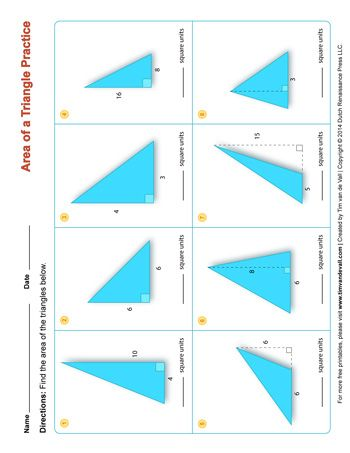 A Printable Area Of A Triangle Worksheet For Math Students And