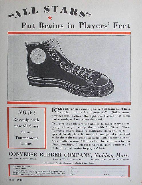 02d3e6aeadde Vintage Converse All-Stars Basketball Sneakers Ad 1932  crispculture ...